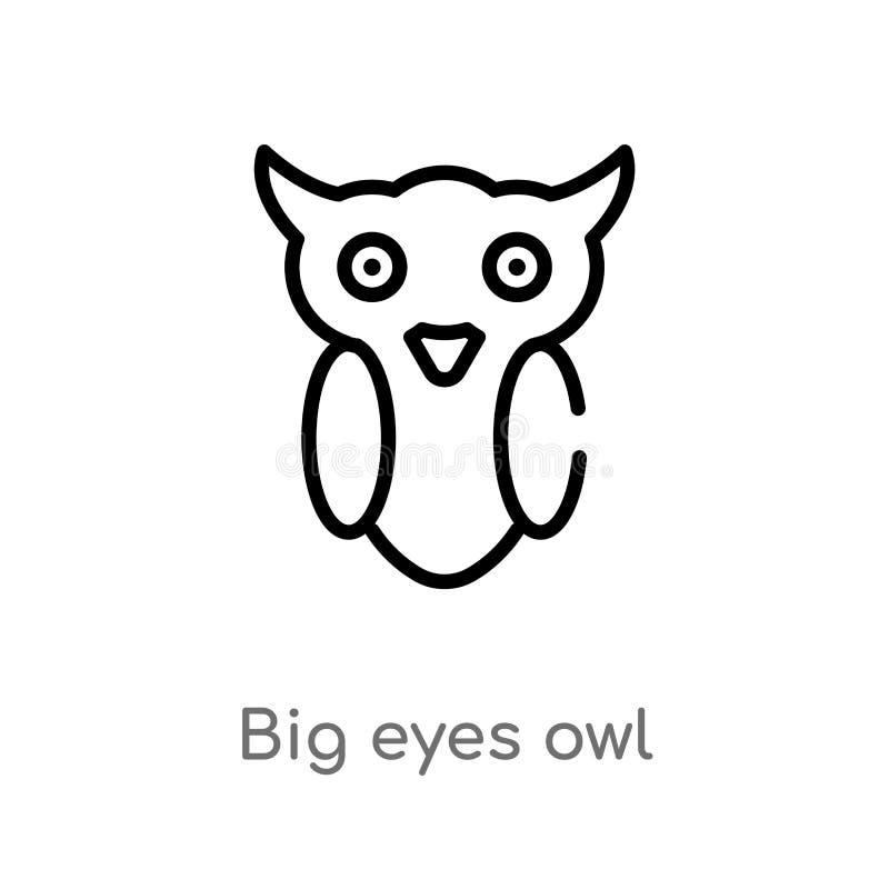 grande icona di vettore del gufo degli occhi del profilo linea semplice nera isolata illustrazione dell'elemento dal concetto deg illustrazione vettoriale