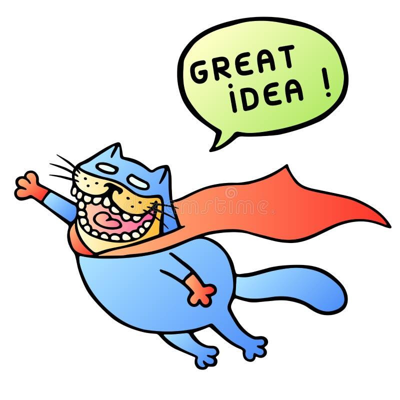 Grande idea Il gatto eccellente vola e grido Illustrazione di vettore royalty illustrazione gratis