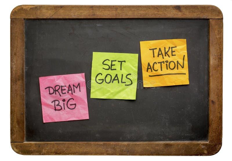 Grande ideal, ajustou objetivos, toma a ação foto de stock