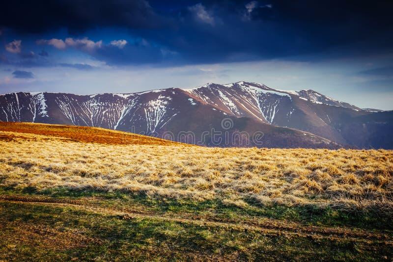 Grande ideia da escala da neve sob o céu nublado Cena dramática e imagem pitoresca Lugar do lugar Carpathian Instagram imagem de stock