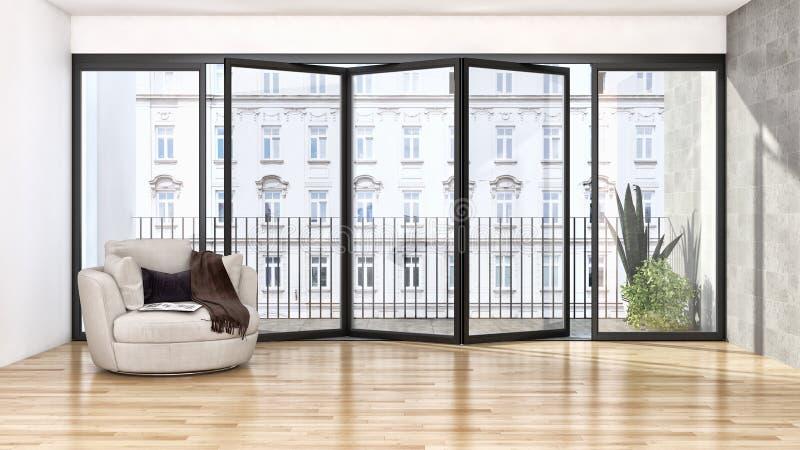 Grande illus luminoso moderno di lusso del salone dell'appartamento degli interni royalty illustrazione gratis