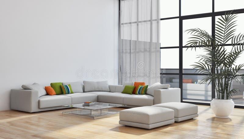 Grande illus luminoso moderno di lusso del salone dell'appartamento degli interni fotografia stock