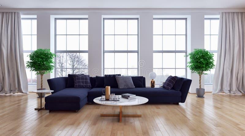 Grande illus luminoso moderno di lusso del salone dell'appartamento degli interni fotografie stock libere da diritti