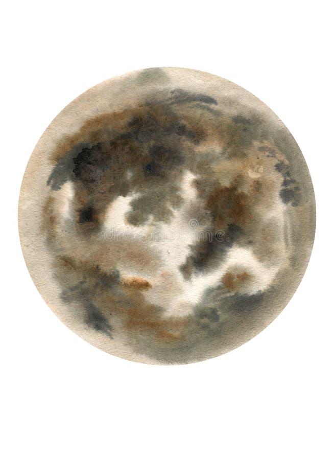 Grande illustration de lune d'aquarelle Symbole du nouveau d?but, r?vant, romance, imagination, magie Les couleurs noires et gris illustration libre de droits