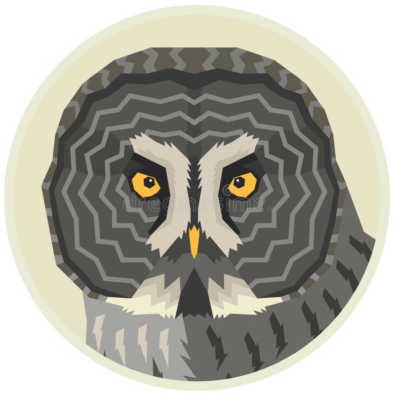 Grande illustration de vecteur de hibou gris d'un oiseau dans un cadre rond illustration stock