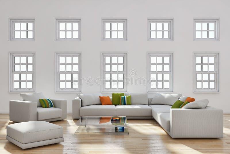 grande illustration lumineuse moderne de luxe 3D de salon d'intérieurs photo libre de droits