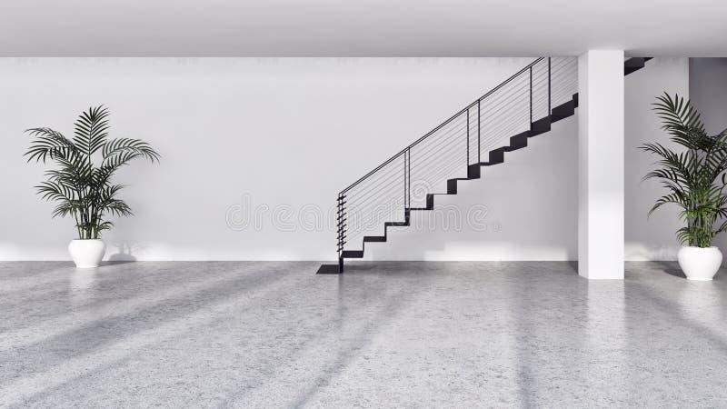 grande illustration lumineuse moderne de luxe 3D de salon d'intérieurs photos stock