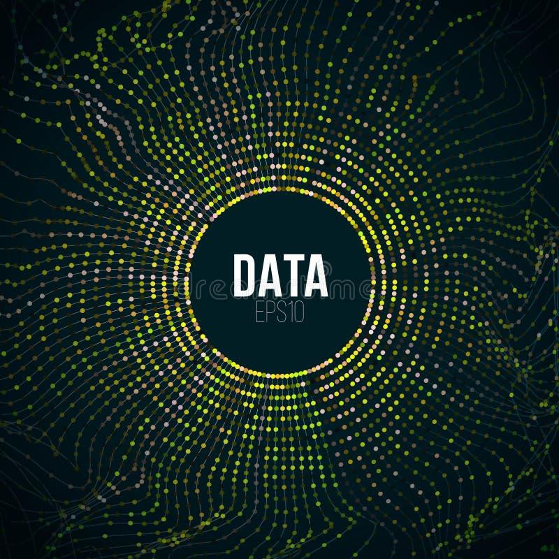 Grande illustrazione astratta di dati Impulso errato ed onda di griglia del cerchio della particella Fondo di bigdata di Digital illustrazione vettoriale