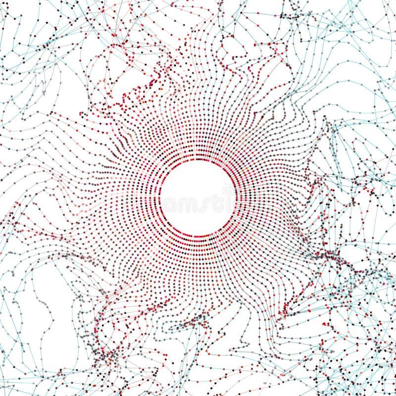 Grande illustrazione astratta di dati Impulso errato ed onda di griglia del cerchio della particella Fondo di bigdata di Digital illustrazione di stock
