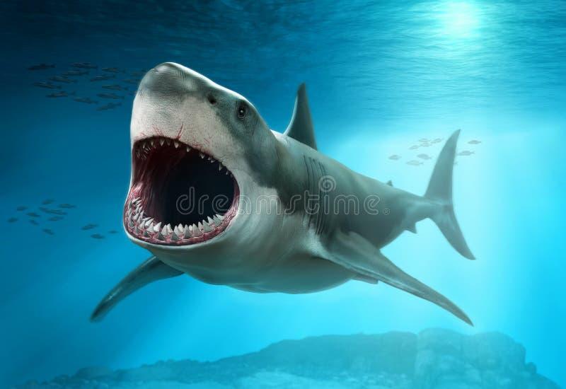 Grande illustrazione di scena 3D dello squalo bianco illustrazione vettoriale