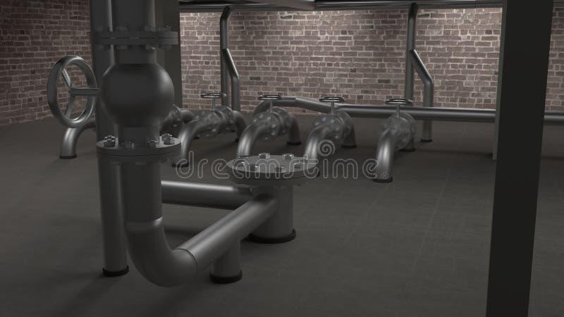 Grande illustrazione industriale della sala 3d della caldaia, dei tubi e delle valvole royalty illustrazione gratis