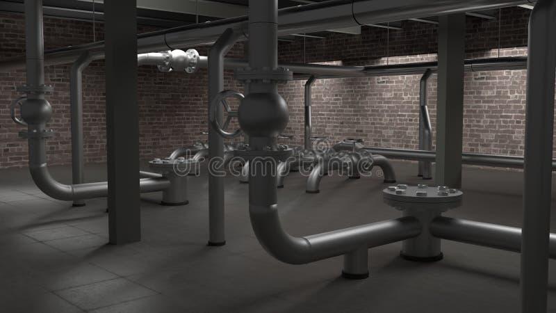 Grande illustrazione industriale della sala 3d della caldaia, dei tubi e delle valvole illustrazione di stock
