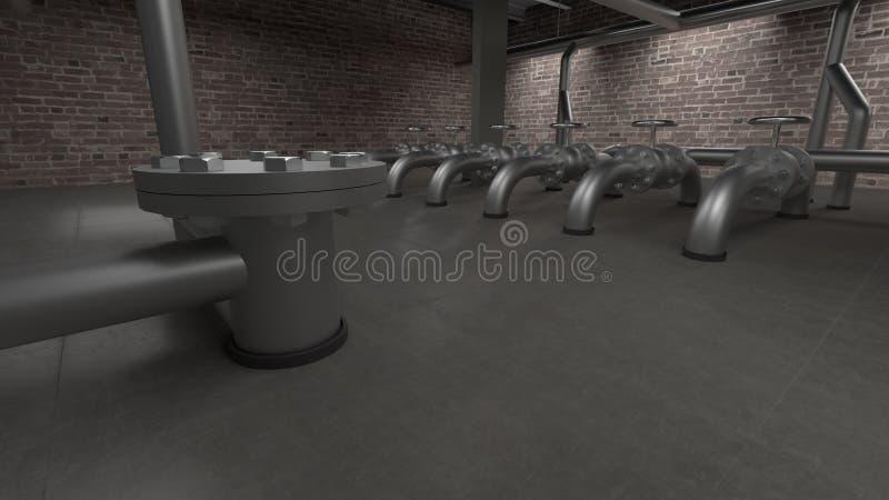Grande illustrazione industriale della sala 3d della caldaia, dei tubi e delle valvole illustrazione vettoriale