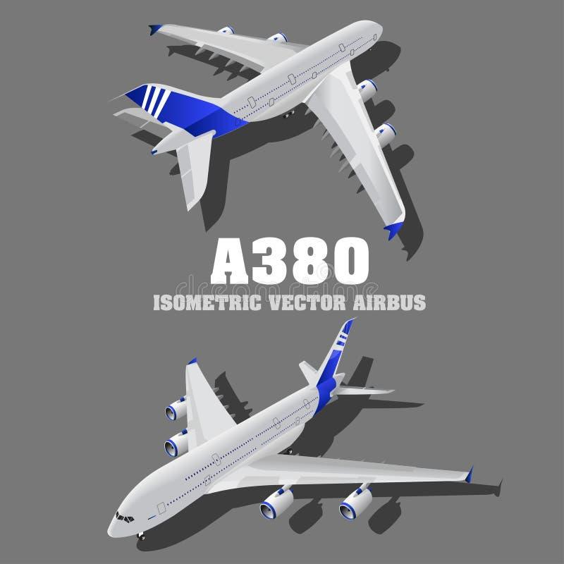 A380, grande ilustração isométrica do avião 3d do passageiro Transporte de alta qualidade liso Os veículos projetaram levar númer ilustração stock