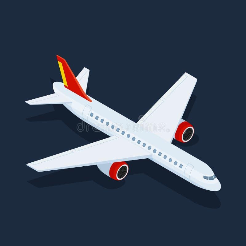 Grande ilustração isométrica do avião 3d do passageiro Transporte 3d de alta qualidade isométrico liso ilustração stock