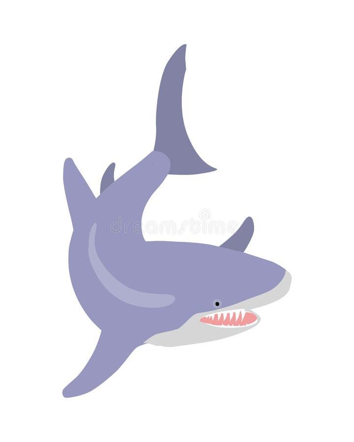 Grande ilustração lisa do vetor dos desenhos animados do tubarão branco ilustração do vetor