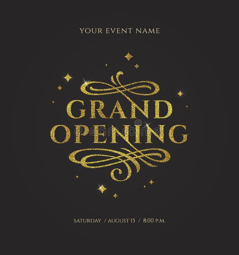 Grande inauguração - o logotipo do ouro do brilho com floresce elementos decorativos no fundo preto ilustração stock
