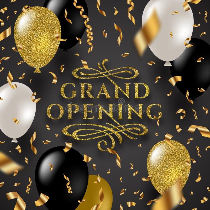 Grande inauguração - o logotipo do ouro do brilho com floresce os elementos decorativos cercados por confetes e por balões dourad ilustração do vetor