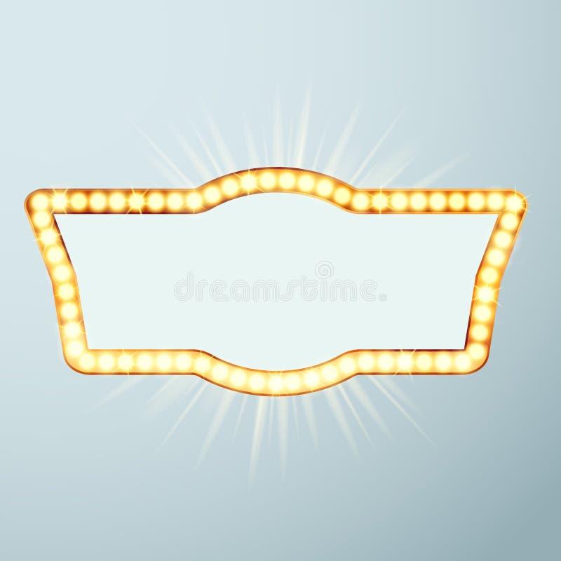 Grande incandescência brilhante noite agora mostrando do cinema sinal de néon Noite r ilustração stock