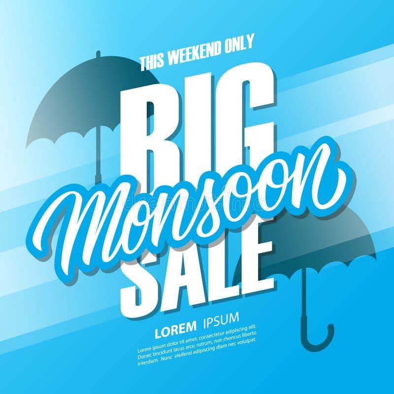 Grande insegna di offerta speciale di vendita di stagione dei monsoni con iscrizione disegnata a mano ed ombrelli per acquisto di illustrazione vettoriale