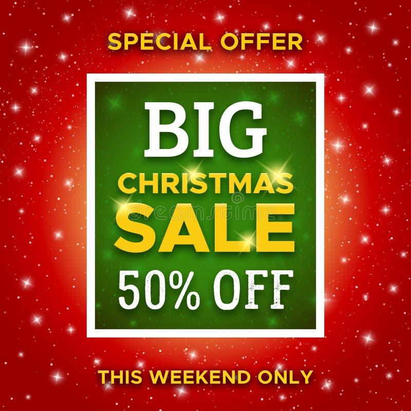 Grande insegna di promo di vendita di Natale Modello di vettore illustrazione di stock