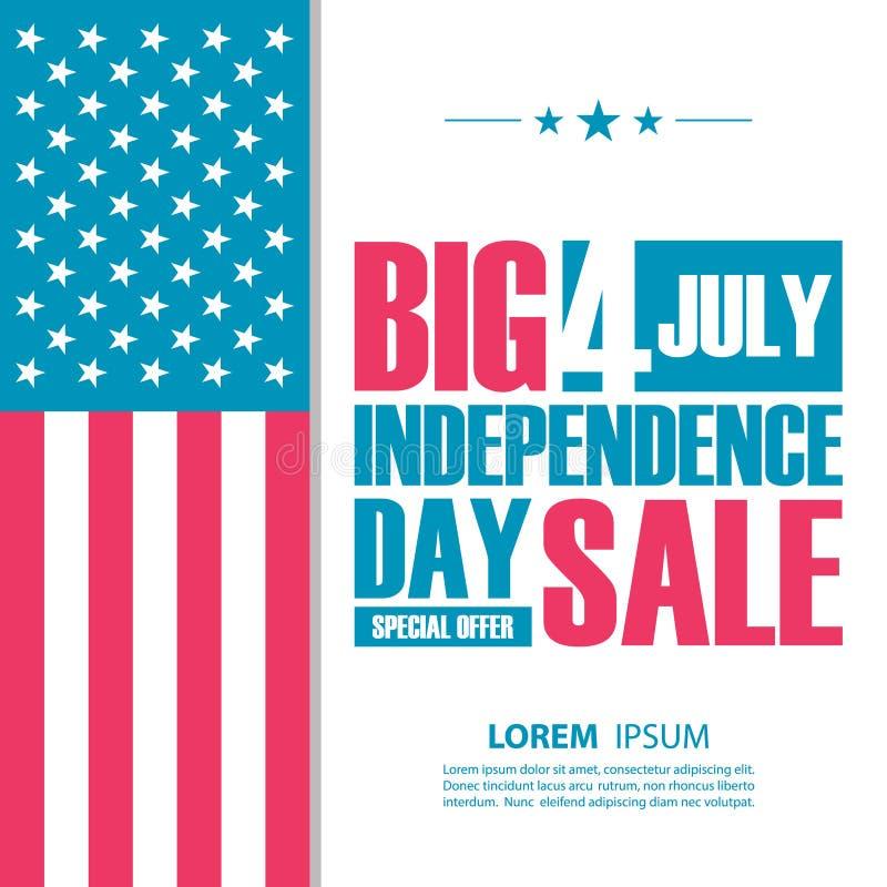 Grande insegna di vendita di festa dell'indipendenza 4 luglio fondo di offerta speciale per l'affare, il commercio e la pubblicit illustrazione di stock