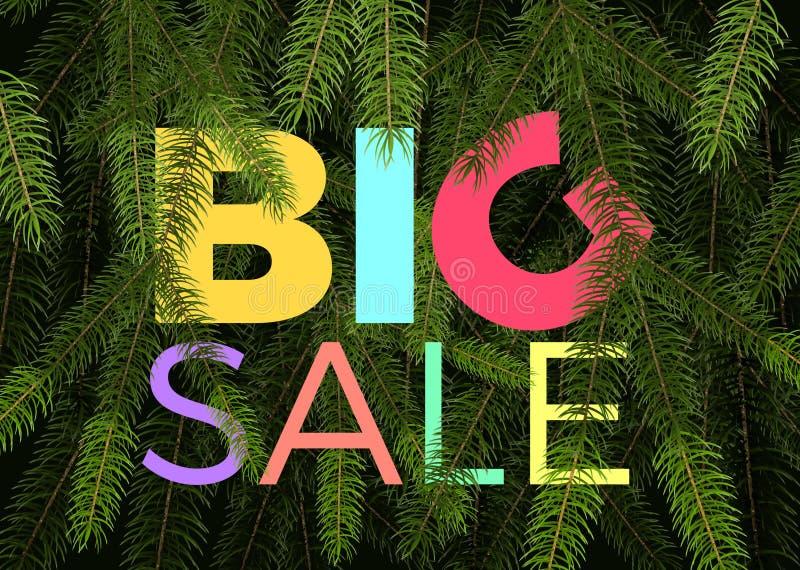 Grande insegna di vendita di inverno vector i rami di albero verdi dell'abete dell'etichetta ed il grande testo di vendita illustrazione di stock