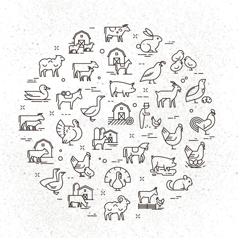 Grande insieme circolare dell'icona di vettore degli animali rurali nello stile lineare per il logos, presentazioni illustrazione vettoriale