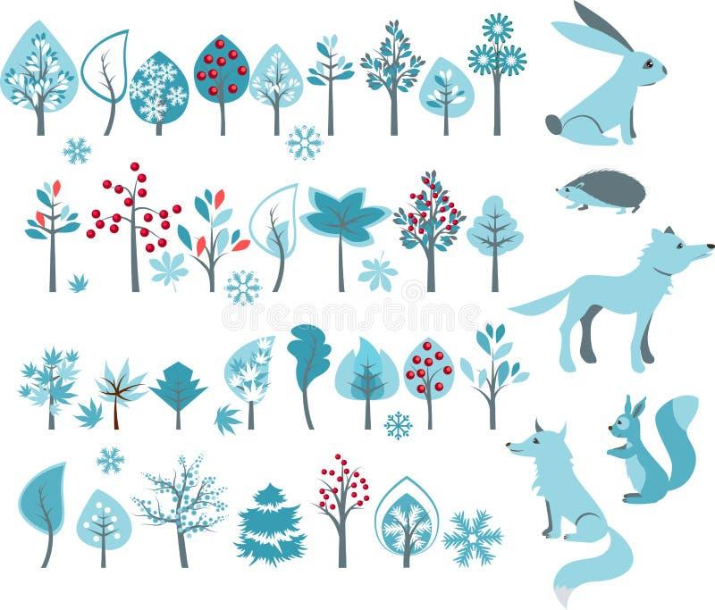 Grande insieme con gli alberi di inverno e gli animali della foresta illustrazione di stock