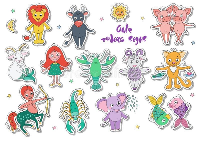 Grande insieme degli animali e dei caratteri fantastici svegli come segni dello zodiaco royalty illustrazione gratis