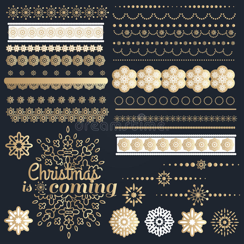 Grande insieme degli elementi calligrafici di progettazione di Natale illustrazione di stock
