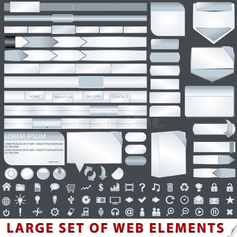 Grande insieme degli elementi di disegno di Web illustrazione vettoriale