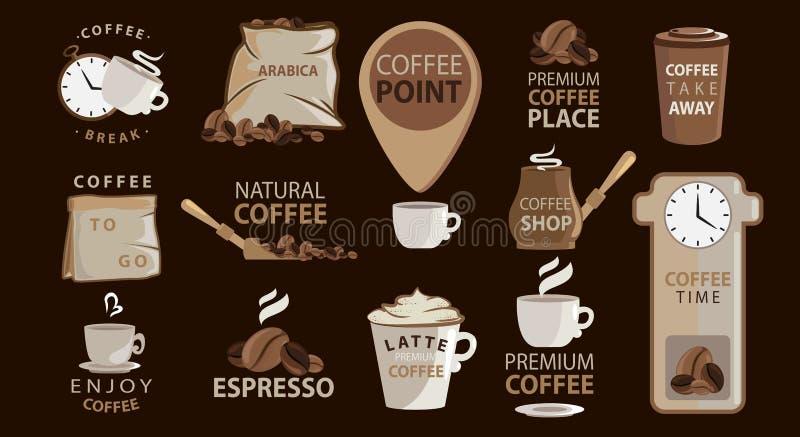 Grande insieme degli emblemi o degli autoadesivi del caffè con le illustrazioni del caffè logotypes Arabica, caffè espresso, latt royalty illustrazione gratis