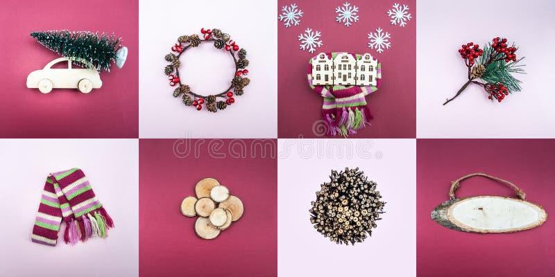 Grande insieme degli oggetti del nuovo anno e del Natale immagini stock