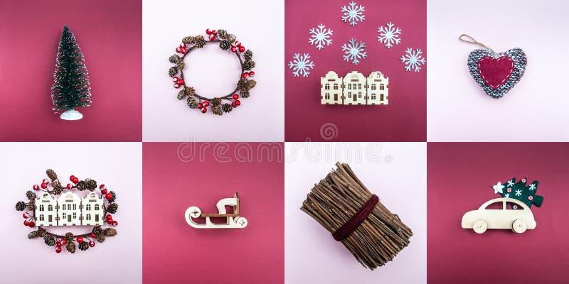 Grande insieme degli oggetti del nuovo anno e del Natale fotografia stock libera da diritti