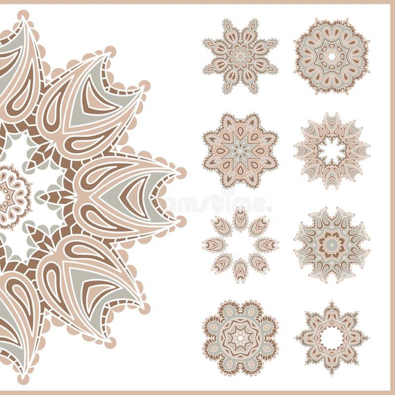 Grande insieme degli ornamenti circolari d'annata Elementi decorativi dell'annata Insieme di bei ornamenti etnici e orientali Fio illustrazione di stock