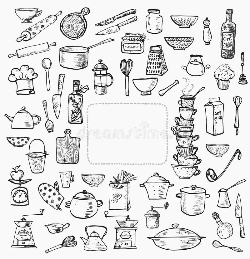 Grande Insieme Degli Utensili Della Cucina Disegnati A Mano Su ...