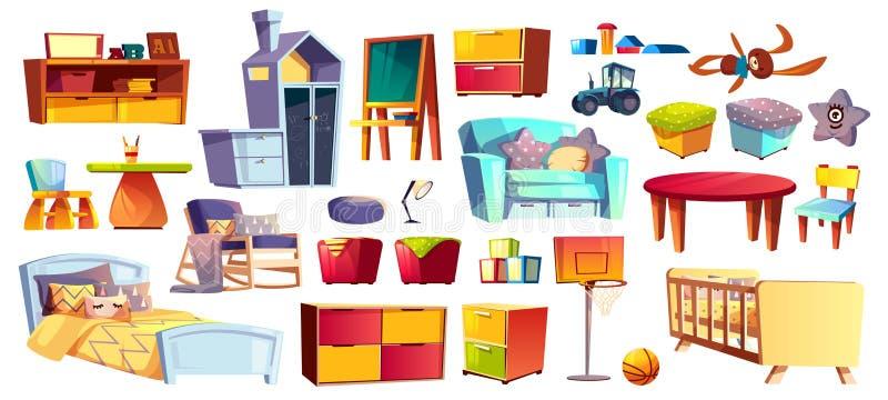 Grande insieme dei bambini mobilia e giocattoli illustrazione vettoriale