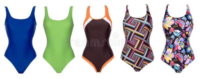 Grande insieme dei costumi da bagno di un pezzo di colore differente immagini stock libere da diritti