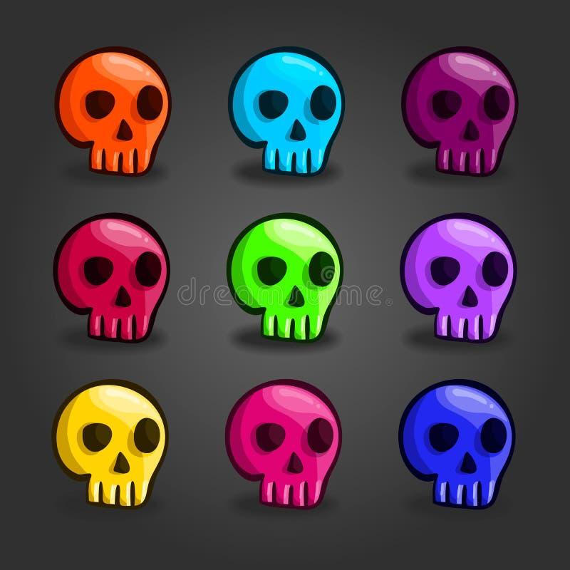 Grande insieme dei crani colorati fumetto illustrazione di stock