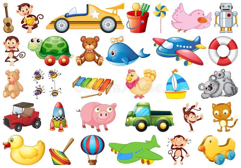 Grande insieme dei giocattoli dei bambini illustrazione di stock