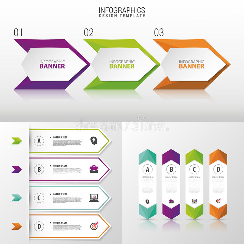 Grande insieme dei modelli dell'insegna di Infographic Disegno moderno Illustrazione di vettore illustrazione vettoriale