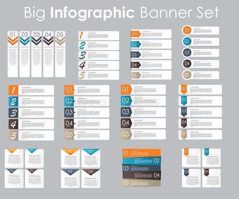 Grande insieme dei modelli dell'insegna di Infographic per il vostro royalty illustrazione gratis