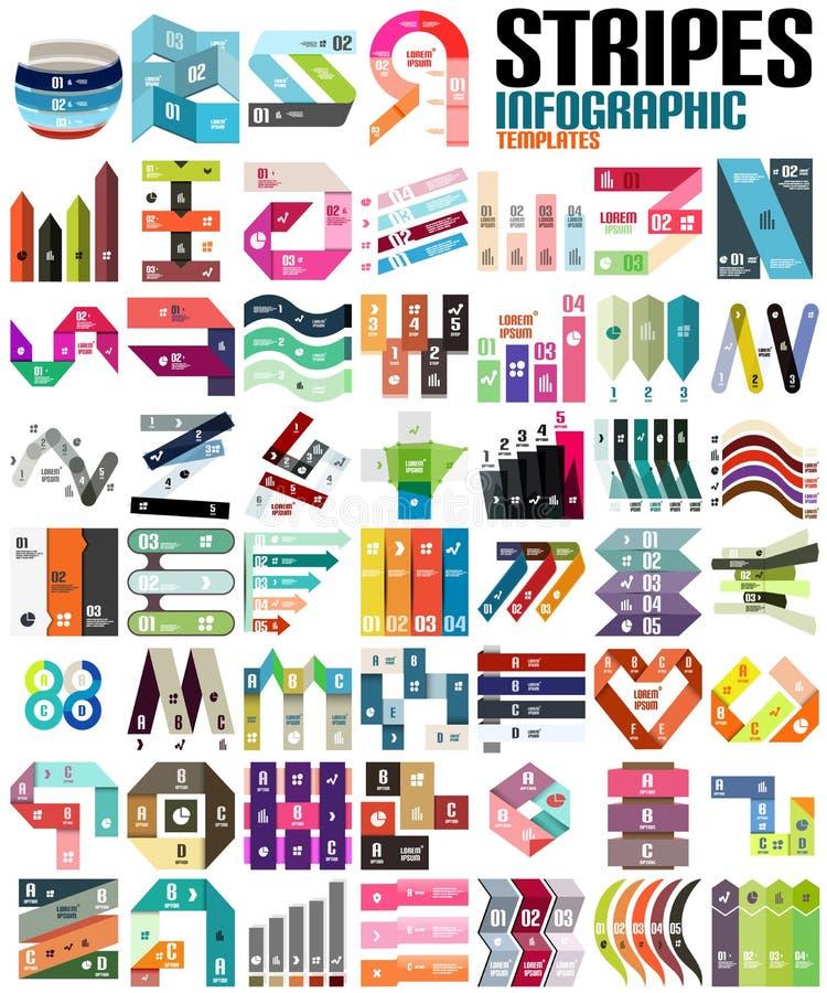 Grande insieme dei modelli moderni infographic - linee illustrazione vettoriale