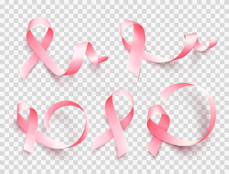 Grande insieme dei nastri rosa isolati sopra fondo trasparente Simbolo del mese di consapevolezza del cancro al seno ad ottobre V royalty illustrazione gratis