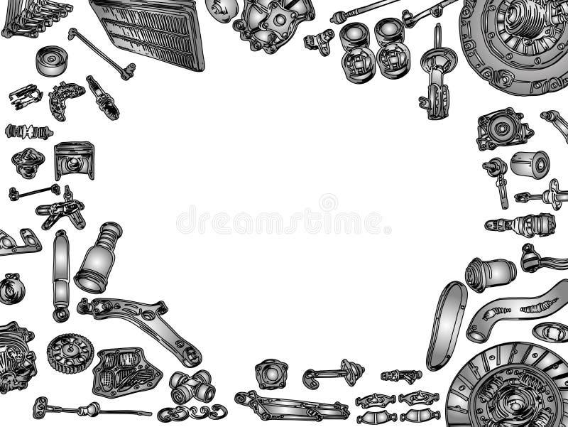 Grande insieme dei pezzi di ricambio dipinti di mercato degli accessori per illustrazione di stock