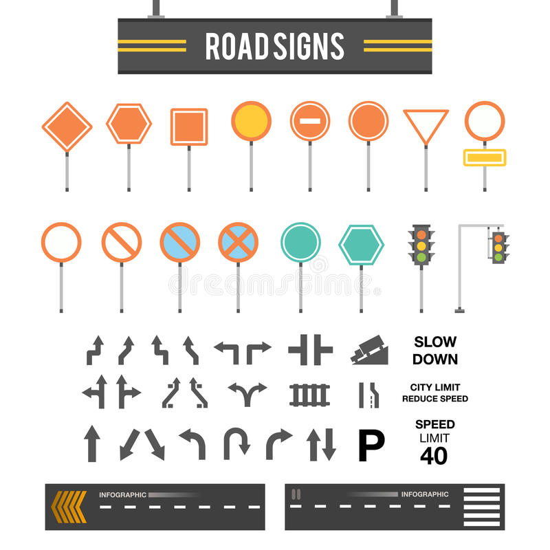 Grande insieme dei segnali stradali Icone dei segnali stradali Modello in bianco dei segnali stradali Cartelli messi Progettazion royalty illustrazione gratis