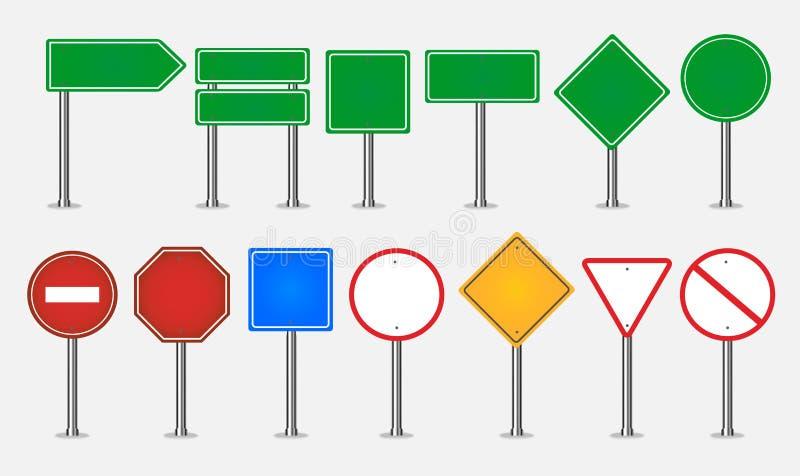 Grande insieme dei segnali stradali illustrazione di stock