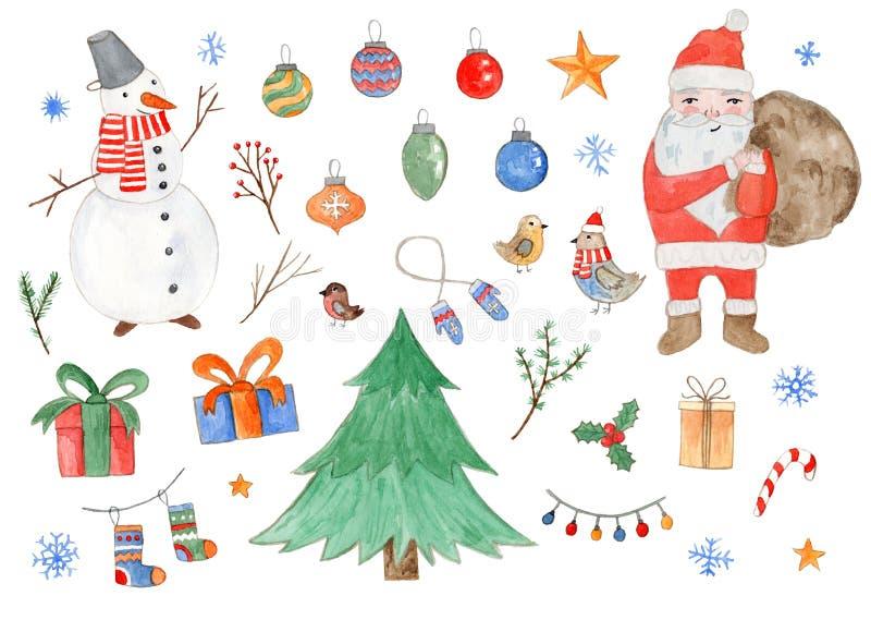 Grande insieme dell'acquerello degli elementi svegli di Natale royalty illustrazione gratis