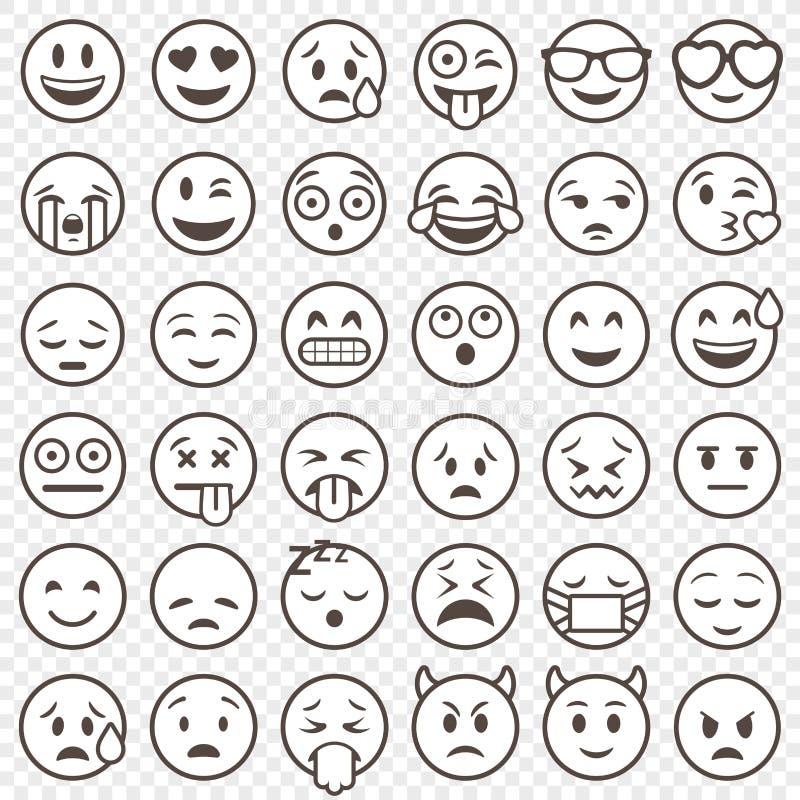 Grande insieme dell'emoticon descritto vettore illustrazione vettoriale